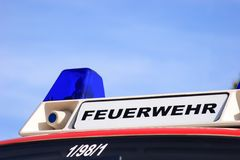 German firebrigade - Feuerwehr. While the state-wide fire service action week in September 2014 the fire department shows their equipement at the open day Stock Photo