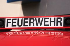 German firebrigade - Feuerwehr. While the state-wide fire service action week in September 2014 the fire department shows their equipement at the open day Royalty Free Stock Photography