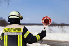 German Firefighter blocks a road Stock Photography