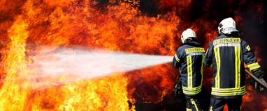 German firefighters stock image