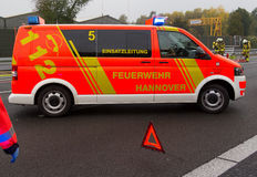 German firefighting truck stands on freeway Royalty Free Stock Photo