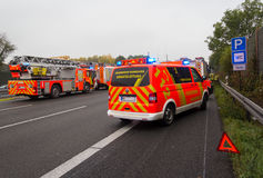 German firefighting trucks stands on freeway Royalty Free Stock Images