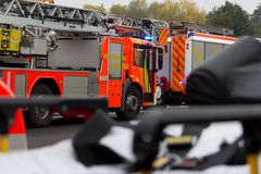 German firefighting trucks stands on freeway Stock Photos