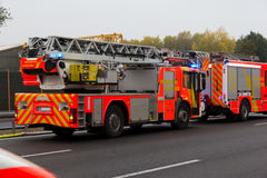 German firefighting trucks stands on freeway Stock Photo