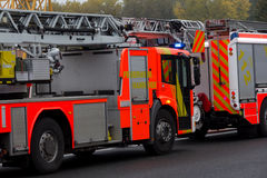 German firefighting trucks stands on freeway Royalty Free Stock Photo