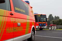 German firefighting trucks stands on freeway Stock Image