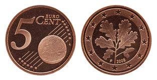 German five euro cent Germany coin, front side 5 and world globe, backside oak leaf stock image