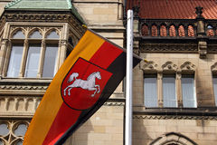 German flag. German national flag in front of the town hall of Braunschweig royalty free stock photos