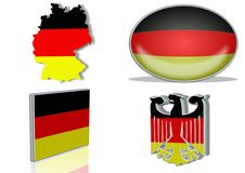 German flag. In 4 different designs, in shape of the country, oval shape, flat on an angle, in a shape of a national symbol Royalty Free Stock Images