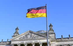 German flag. The German flag flying in front of the Reichstag in Berlin Stock Photography