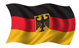 German flag. Waving in the wind with eagle Royalty Free Stock Photography
