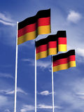 German flag. The flag of Germany flying under a blue sky vector illustration