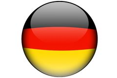 German flag. The german flag isolated on a white background and represented in a glassy orb Stock Images
