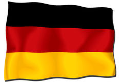 German flag. Illustration of a German flag on a flagpole Royalty Free Illustration