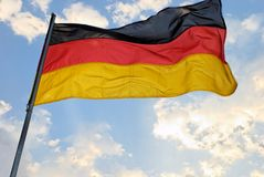 German Flag. Waves in the wind stock photo