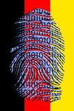 German Flag Binary Fingerprint. German Flag Binary Code Fingerprint Stock Images