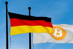 German flag and Bitcoin Flag. Waving over blue sky 3D rendering Stock Photography