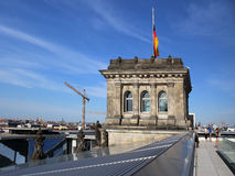 German flag on the Bundestag cover in Berlin Royalty Free Stock Photography