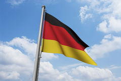 German Flag with Clouds Stock Photography