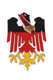 German flag eagle carrying red pencil in beak Royalty Free Stock Photography