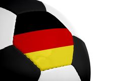German Flag - Football. German flag painted/projected onto a football (soccer ball). Isolated on a white background royalty free stock photography