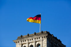 German flag in front of the Reichstag Royalty Free Stock Photography