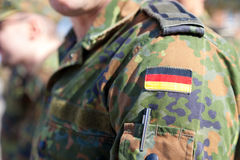 German flag on german army uniform stock photo