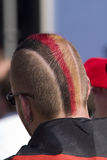German flag hairstyle. German fan with colorful hairstyle at the football world championships 2006 in Germany royalty free stock image