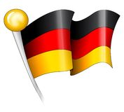 German Flag Illustration. Illustration of a German flag on a flagpole Royalty Free Stock Photography