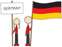 German flag. Illustration of a girl and boy holding German flag and banner Royalty Free Stock Photography