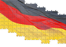 German flag jigsaw. Partially completed jigsaw of German flag; isolated on white background vector illustration