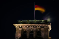 German Flag at Night on Reichstag Building in Berlin, Germany Royalty Free Stock Image