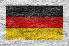 German flag painted over brick wall Royalty Free Stock Photos