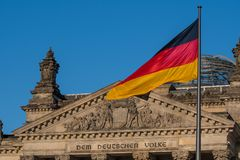 German flag at the Parliament. In berlin royalty free stock photos