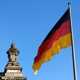 German Flag Reichstag Detail Stock Photo