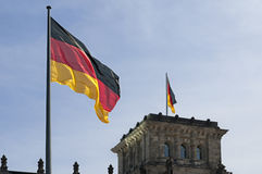 German Flag and Reichstag Royalty Free Stock Photo