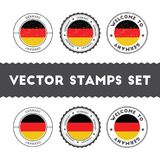 German flag rubber stamps set. National flags grunge stamps. Country round badges collection Stock Image