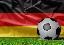 German flag and soccer ball Royalty Free Stock Images