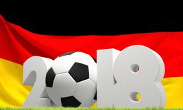 German flag 2018 soccer football ball green lawn. Design Royalty Free Stock Image
