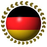 German flag sphere with euros. German flag sphere with euro symbols illustration Royalty Free Stock Images