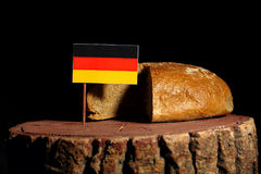 German flag on a stump with bread Stock Photo