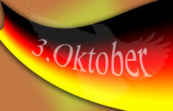 German flag with a symbol and the date 3th october. German flag with a eagle symbol, german date 3. Oktober, which means 3th october Royalty Free Stock Image