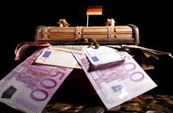 German flag on top of crate Royalty Free Stock Photos