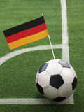 German Flag on Top of Soccer Ball royalty free stock photo