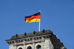 German flag in the wind stock illustration