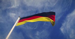 German Flagpole And Flag Waving Represents Federal Republic Of Germany - 4k 30fps Video. German Flagpole And Flag Waving Represents Federal Republic Of Germany stock video