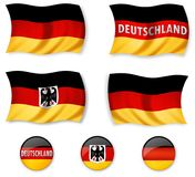 "German flags. A collection of illustrations of the German flag with the text ""Deutschland"" and the German Coat of Arms on top Stock Photo"