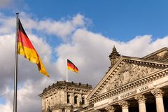 German Flags at the Reichstag Seat of Parliament Stock Photo