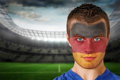 German football fan in face paint Stock Photos
