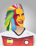 German football fan. With face paint and multi colour hair Stock Photos